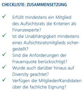 Checkliste: Zusammensetzung