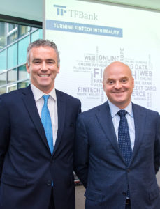 Declan Mac Guinness (CEO) und Matthias Carlsson (Chairman) am Rande der Pressekonferenz der TF Bank in Frankfurt