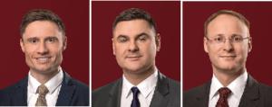 Dr. Marcus Peter, Andreas Heinzmann und Dr. Philipp Mößner sind die neuen Partner im Luxemburger Büro von GSK Stockmann + Kollegen.