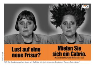 """Die Bundestagswahlen stehen an? Da findet sich doch sicher eine Brücke zum Thema """"Auto mieten"""". Quelle: Sixt."""